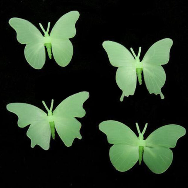 4Pc Glow In The Dark Butterfly Fluorescent Decal Art Wall Stickers Home Decor HQ