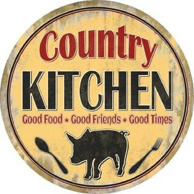 COUNTRY KITCHEN GOOD FOOD * FRIENDS * TIMES METAL NOVELTY ROUND CIRCULAR - Friends Metal Signs