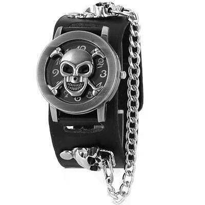 Fashion Gothic Wrist Watch Skull Steampunk Chain Rivet Leather Men Bracelet Cuff