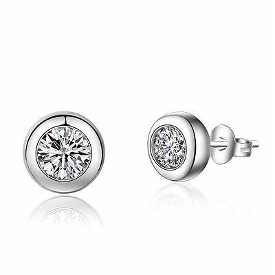 Women 925 Sterling Silver Jewelry Elegant Crystal Ear Stud Earrings Lady Round