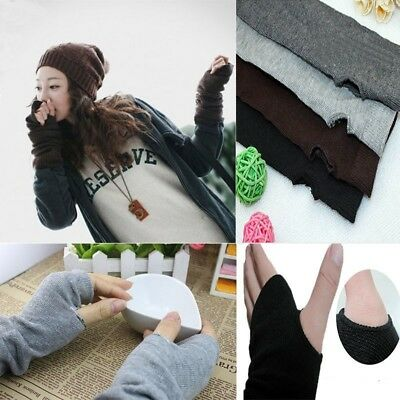 Womens Ladies Winter Wrist Arm Hand Warmer Knitted Long Fingerless Gloves - Womens Fingerless Gloves