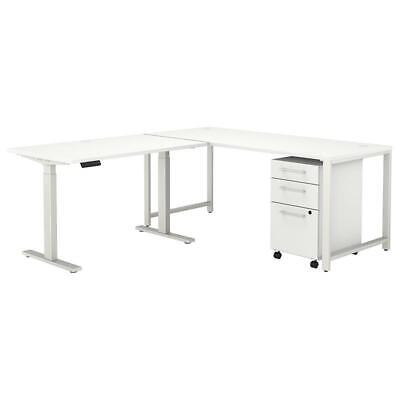 400 Series 72w L Shaped Adjustable Desk Set In White - Engineered Wood