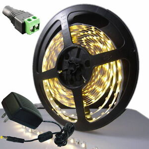 3528 SMD Warm White 300LED 5M LED Flexible Strip Lamp Light + Female + 2A Power