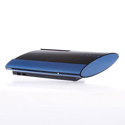 Textured Blue Carbon Fibre Playstation PS3 Super Slim decal skin cover wrap