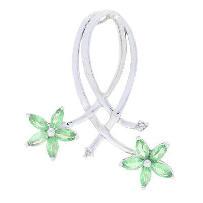 White Gold Tsavorite Garnet & Diamond Pendant - 10k Marquise Cut 1.02ctw Flowers