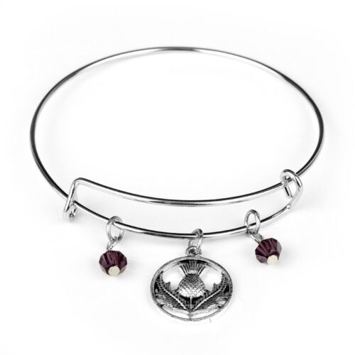 Scottish Thistle and two purple Beads and Expandable Bangle