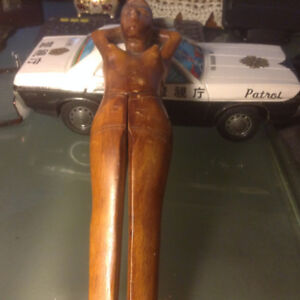 Vintage Wood Carved Nude Woman Nut Cracker Risqué Detailed Figur
