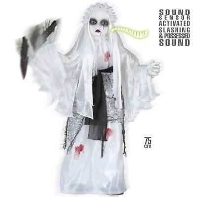 nimiert mit Messer und Sound 75 cm Halloween Deko #1386 (Killer-braut Halloween)