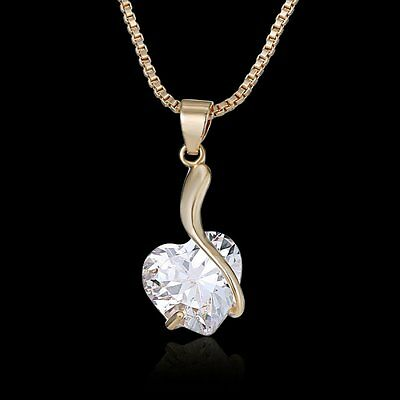 Fashion Jewelry Crystal Love Heart Pendant Chain Charm ...