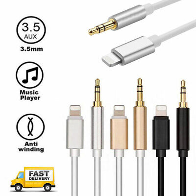 Lightning to 3.5mm Jack Male to Male Audio AUX Lead Cable for iPhone 7 8 X iOS12