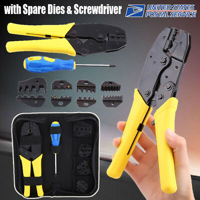 Us Top Quality Cable Crimper Tool Kit Wire Terminal Ratchet Plier Crimping Set