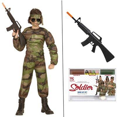 MUSKEL SOLDAT Kinder Kostüm Armee Tarnanzug Jungen Karneval Fasching #0051