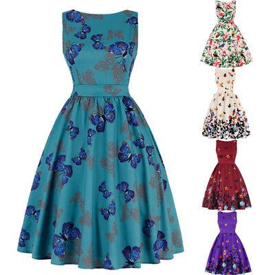 Women 1950's Retro Vintage Rockabilly Pin Up Swing Prom Butterfly Floral Dress Vintage 1950s Swing