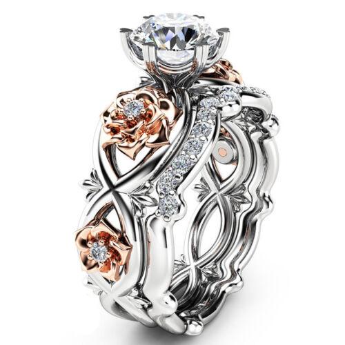 Ring - Women 925 Sterling Silver Two Tone White Sapphire Topaz Flower Wedding Ring Set