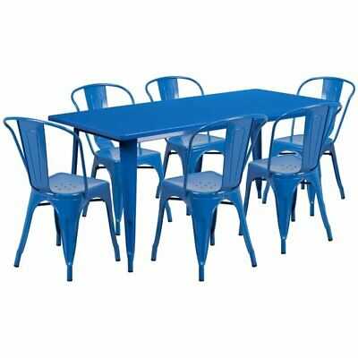 Flash Furniture 7 Piece Metal Dining Set in Blue