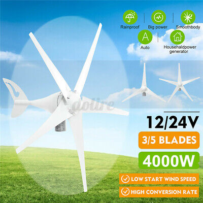 4000W 12V/24V 3/5 Blade Wind Turbines Generator W/ Charge Controller Home Power