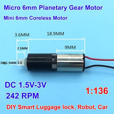 Dc 3v Micro 6mm Planetary Gear Reducer Motor Mini Coreless Gearbox Motor 242rpm