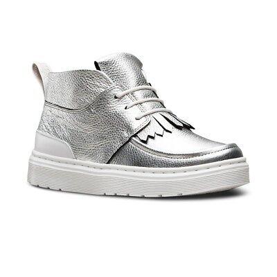 Womens Metallic Leather - Womens DR MARTENS Metallic JEMIMA Leather Silver 3-Eye Chukka Shoes doc SIZE 8