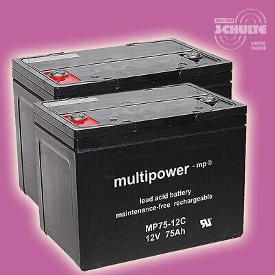 Akku-Satz Batterien für Seniorenmobil Scooter E-Mobil L46, 2 x 12V 75Ah Blei AGM