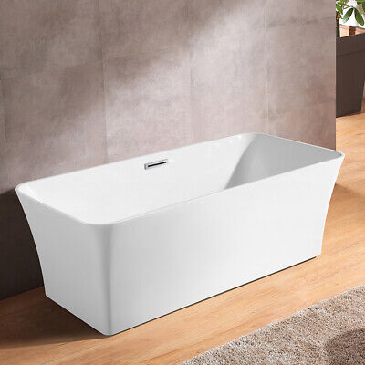 "67"" White Rectangular Bathtub Soaking Freestanding Tub Acrylic Bathtub & Drain"