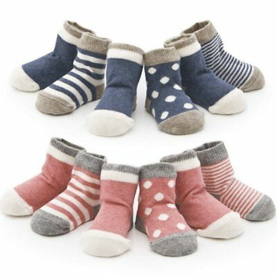 4 pairs Baby Girl Boy Anti-slip Socks Striped Newborn Slippe