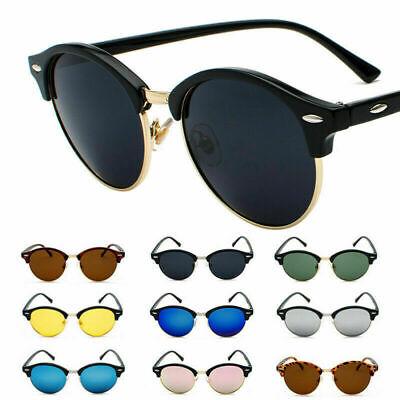 Vintage Retro Polarized Round Sunglasses Half Frame Semi Rimless Glasses UV400