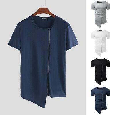 Mens Round Neck Zipper Short Sleeve T-shirt Asymmetrical Summer Casual Tees -