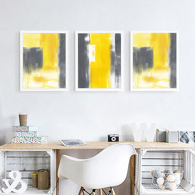 The Yellow and Gray Abstract Minimalism Art Canvas Poster Room Wall Decoration