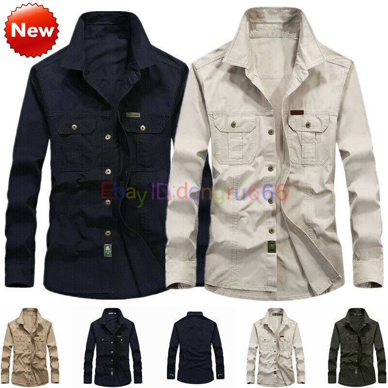 Mitiy Cargo Casual Button Down Work Dress Shirts Pockets Mens Military Short Sleeve Twill Work Shirts