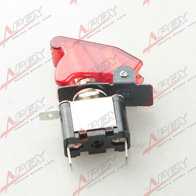 2pc 12v Car Racing On Off Aircraft Type Red Led Toggle Switch Control Flip Cover