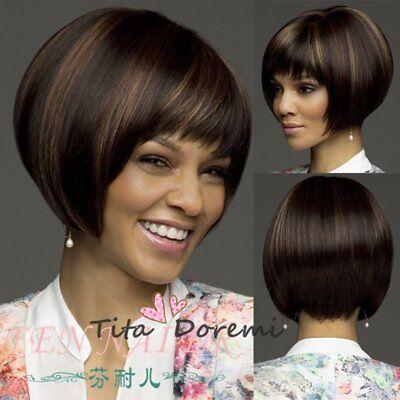 Halloween Wig Costume Woman Brown Mix Short Cosplay Heat Resistant Hair (Halloween Costumes Short Brown Hair)