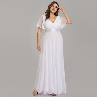 Ever-Pretty US Plus Size Long White Wedding Party Dresses Summer Dress 09890 - White Special Occasion Dress