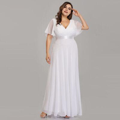 Plus Size Bridal Dresses (Ever-Pretty US Plus Size Long White Wedding Party Dresses Summer Dress 09890 )