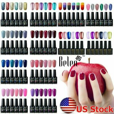Belen Gel Nail Polish 6 Colors Set Manicure Soak Off UV LED Nail Top Base Coat