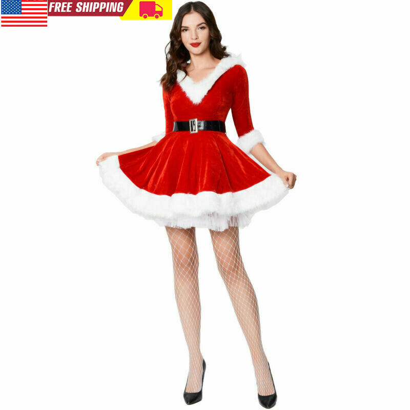 Women Christmas Santa Claus Red Hoodie Dress with Belt Xmas Costume Fancy Dress