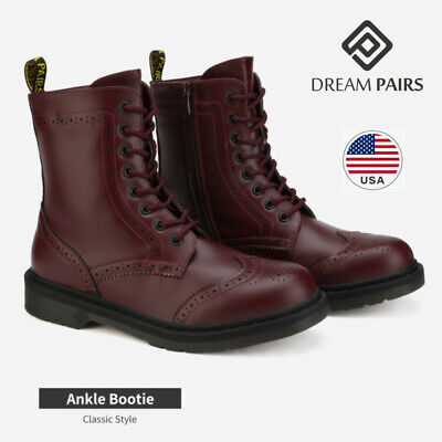 DREAM PAIRS Womens Lace Up Ankle Boots Low Heel Zipper Combat Boots