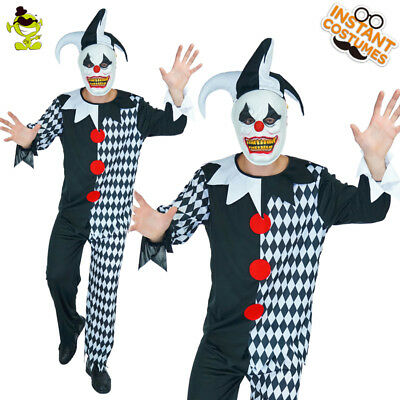 Men's Evil Jester Scary Funny Clown Party Costume Halloween cosplay for Adult (Scary Funny Halloween Costumes)