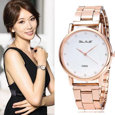 Fashion Luxury Crystal Analog Quartz Stainless Steel Women Wrist Watch
