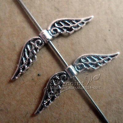 20pc Retro Tibetan Silver Heart Angel wings Spacer Beads Wholesale JP801