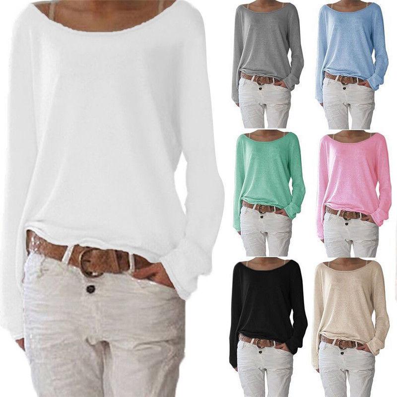 Damen Langarm T-Shirt Bluse Freizeit Longsleeve Blusenshirt Tunika Oberteil Tops