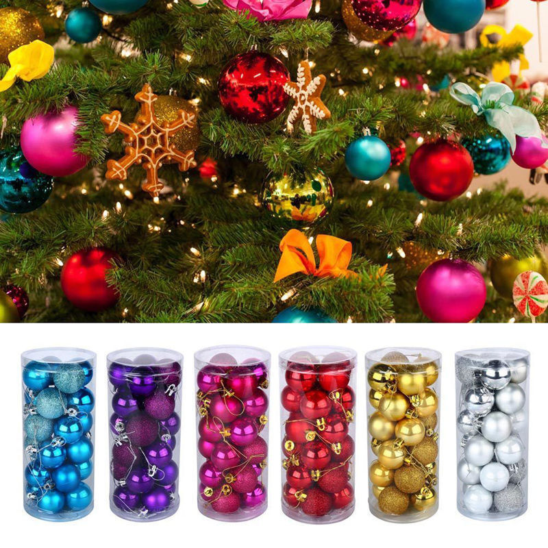 24pcs Glitter Christmas Balls Baubles Tree Hanging ...