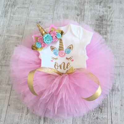 3PCS Baby Girls 1st Birthday Outfit Party Romper Skirt Cake Smash Tutu Dress Set](Winter First Birthday)