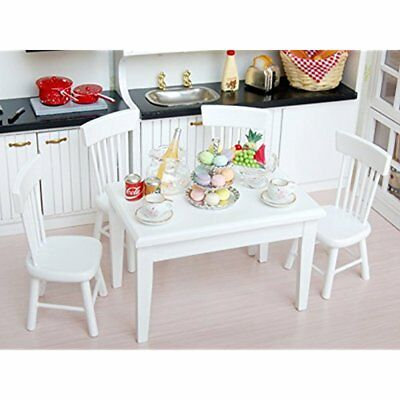 US 5pcs White Dining Room Table Chair Set for 1:12 Dollhouse