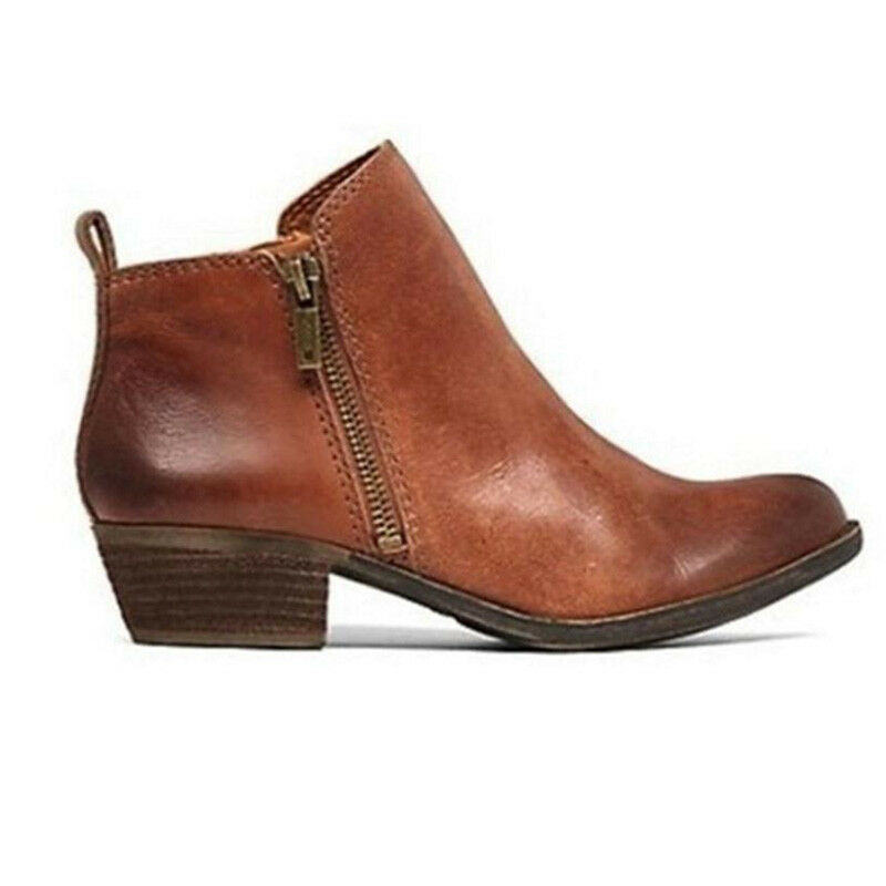 Women's Casual Booties Low Heels Block Ankle Boots Round Toe Zip Up Shoes Size