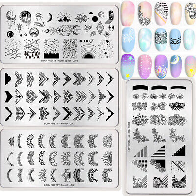 BORN PRETTY Rectangle Stamping Templates Nail Art DIY Stamp Print Plate Stencil