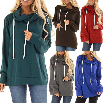 Womens Casual Hooded Sweatshirt Loose Blouse Drawstring Comfy Pullover -
