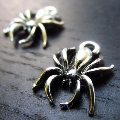 Spider Charms Wholesale Halloween Silver Plated Pendants C3104 - 10, 20 Or 50PCs - Halloween Charms Wholesale