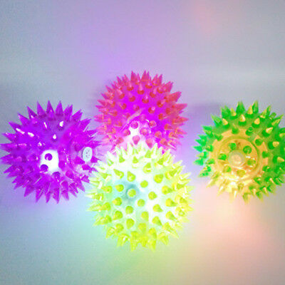Cat Dog Puppy LED Light Up Squeaky Rubber Chew Play Elastic Spike Ball Pet Toy - Light Up Rubber Balls