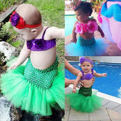Infant Little Mermaid Costume (Lovely Baby Girl Little Mermaid Dress Tulle Tutu Skirt Photo Prop Costume)