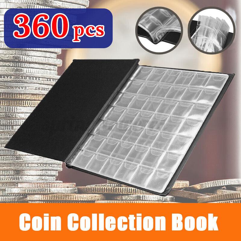 360 pieces Mini Collection Storage Pockets Money Album Book Coin Holder Black
